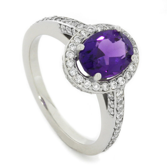 purple amethyst and engagement ring palladium