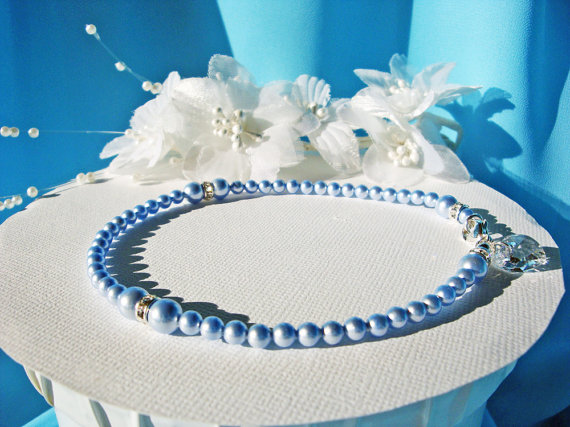 Mariage - Something Blue Anklet Swarovski Pearls Crystal Heart Ankle Bracelet Wedding Jewelry