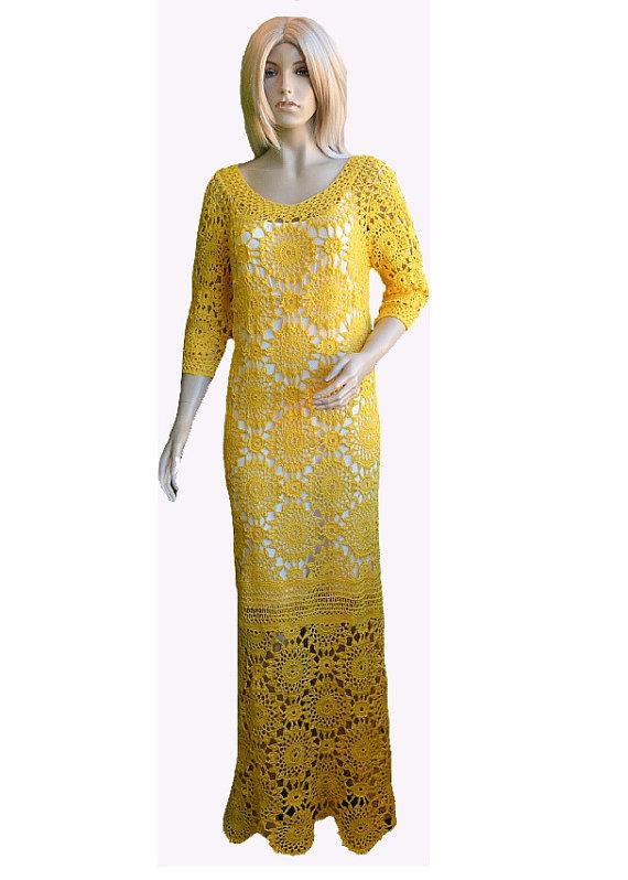 Mariage - long wedding dress (Custom made) crochet yellow