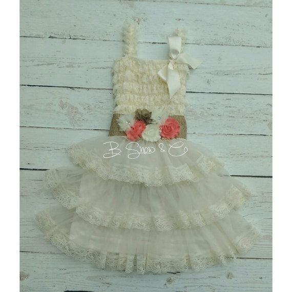 Mariage - Flower Girl Dress and Sash, Ivory Flower Girl Dress, Coral Flower Girl, Burlap Flower Girl Sash, Rustic Flower Girl Dress, Beach Flower Girl