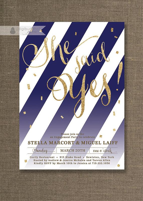 Wedding - Gold Glitter Engagement Party Invitation She Said Yes Stripes Navy Confetti Sprinkle Modern FREE PRIORITY SHIPPING or DiY Printable - Stella