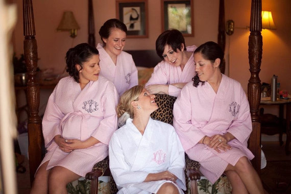 Wedding - 5 Bridesmaids Robes Personalized Wedding Shower FREE front and back embroidery