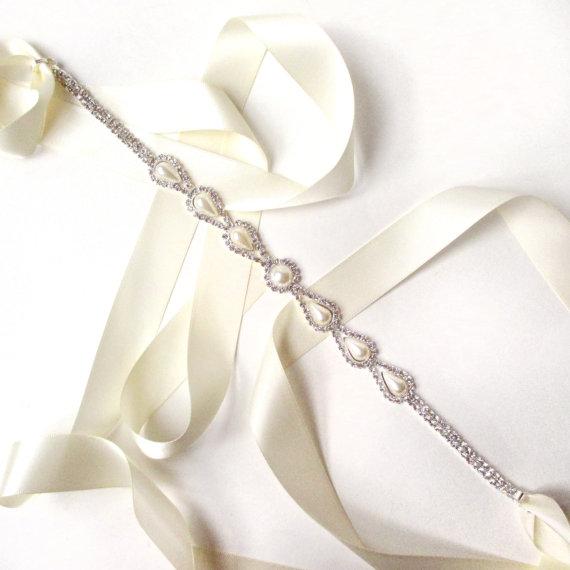 Mariage - Teardrop Pearl Bridal Belt Sash or Headband - White Ivory Silver Satin Ribbon - Rhinestone Belt - Crystal Wedding Dress Belt - Extra Long