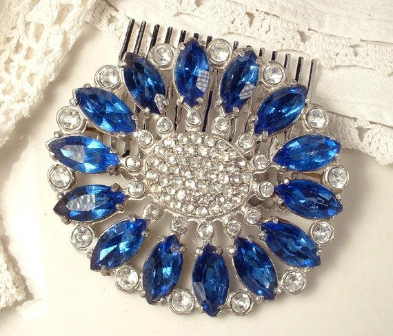 زفاف - 1920s Sapphire Blue Rhinestone Bridal Headpiece or Sash Brooch, Art Deco Cobalt Vintage Wedding Oval 1930 Hair Comb / Pin Downton Abbey Navy