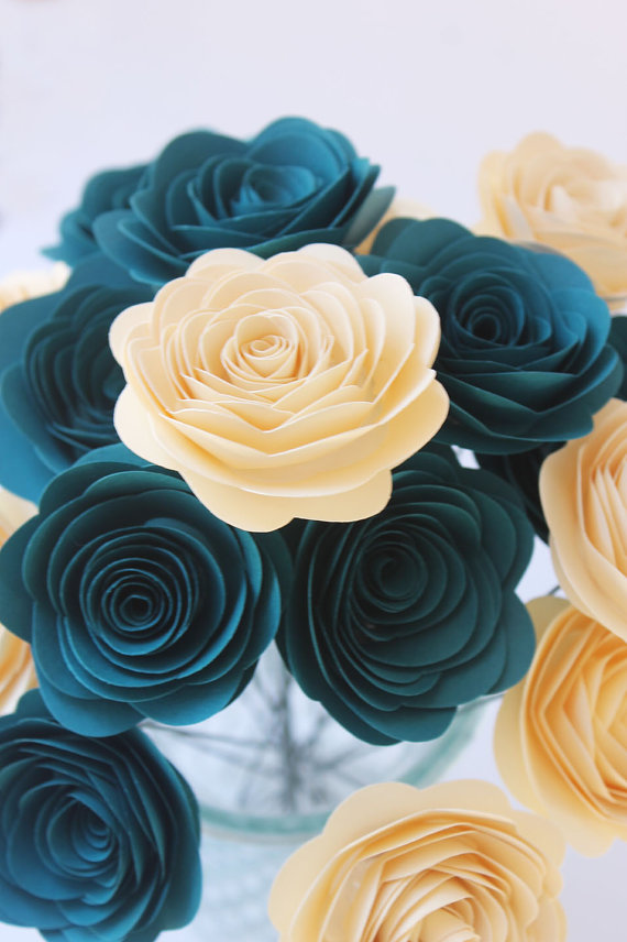 12 dark teal cream paper flowers wedding home decor bridal shower mother gift baby shower sister gift bouquet gift party