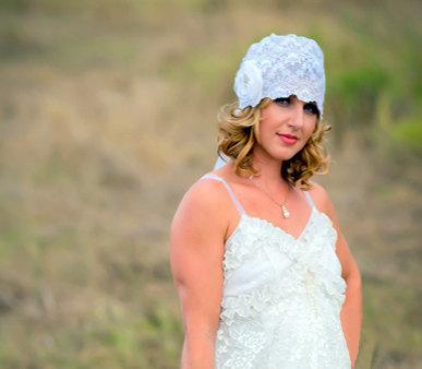 زفاف - Vintage Couture Custom Made Silk  Lace Bridal Cap/flower Brooch/Detachable Veil  CRBoggs Original