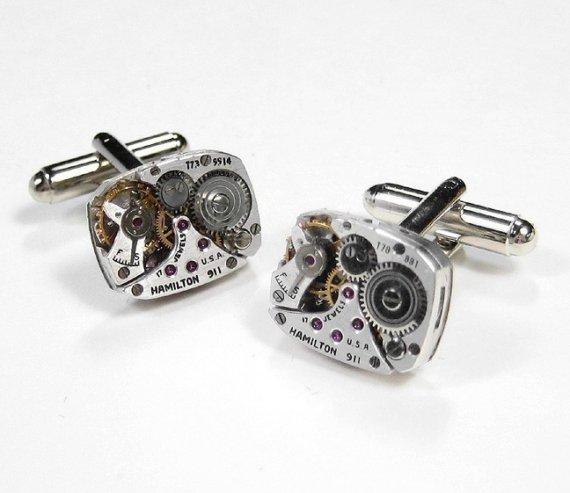 Mariage - Steampunk Cufflinks HAMILTON Watch Mens Cuff Links In POSITIVE MAGAZINE Wedding Anniversay Fathers Day  Steampunk Jewelry by edmdesigns