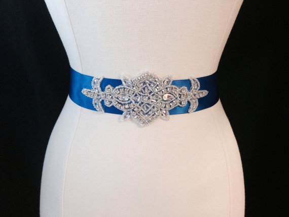 Bridal sash wedding sash rhinestone bridal sash for Blue sash for wedding dress