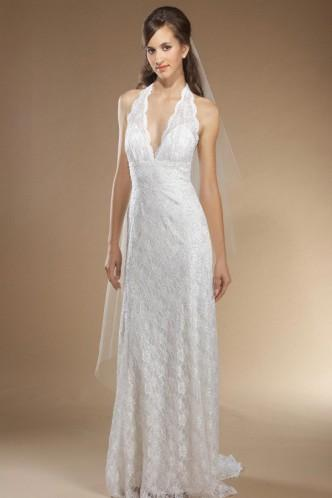 Свадьба - Striking Lace Halter Natural Lace Bridal Wedding Dress