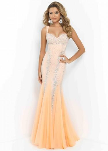 Wedding - Fashion Cheap Sexy Tangerine Beaded Straps Open Back Fitted Evening Gown
