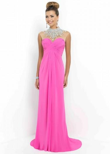 Wedding - Fashion Cheap Sheer Beaded High Illusion Neck Ruched Petunia Long Prom Dress