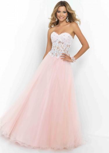 Wedding - Fashion Cheap Sheer Midriff Lace Beaded Corset-style Petal Pink Evening Dress