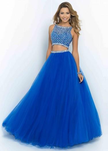 Wedding - Fashion Cheap Sparkly Two Piece Beaded High Neck Brilliant Blue Prom Dress