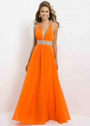 Mariage - Fashion Cheap Tangelo Beaded Halter Straps Criscross Back Prom Dress