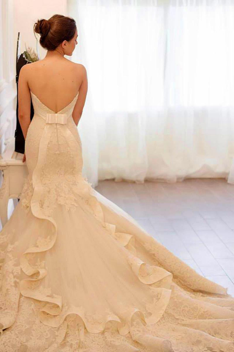 Hot sale lace wedding dress mermaid wedding dress 2014 for Sexy designer wedding dresses