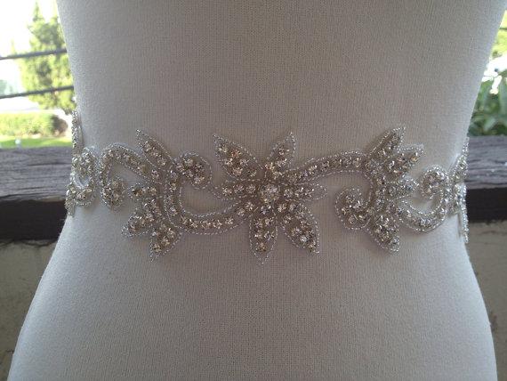 Свадьба - Free Gift ,Silver Wedding Belt Sash,Bridal Sash,Best seller sash ,Rhinestone Crystal Sash,Swarovski beaded sash,Silver Sash Flower