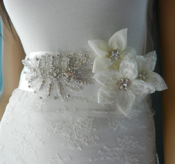 Flower Belts For Wedding Dresses: Sash, Bridal Belt, Wedding Dress Sashes Belts, Wedding