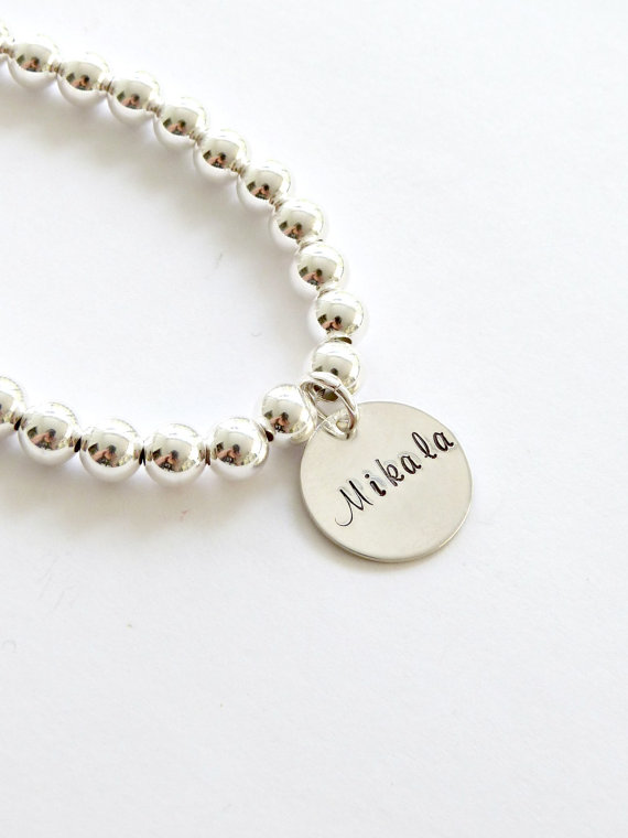 Свадьба - Personalized Silver Bead Bracelet Tiffany's Inspired Sterling Silver Name Bracelet Mother's Jewelry Mother of the Bride Gift Bridesmaid