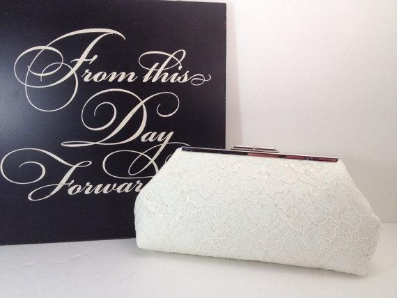 زفاف - Ivory Sequin Lace Clutch Purse with Silver Tone Frame, Bridal Clutch, Wedding, Special Occasion, Mothers Day Gift,  Bridal Shower Gift