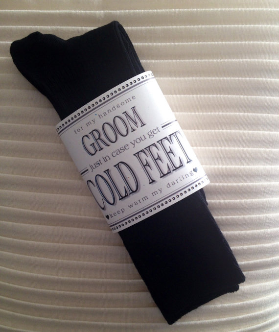 Fabulous Groom S Wedding Gift From Bride Black Designer Dress Socks With Label Just In Case You Get Cold Feet Optional I Do Stickers