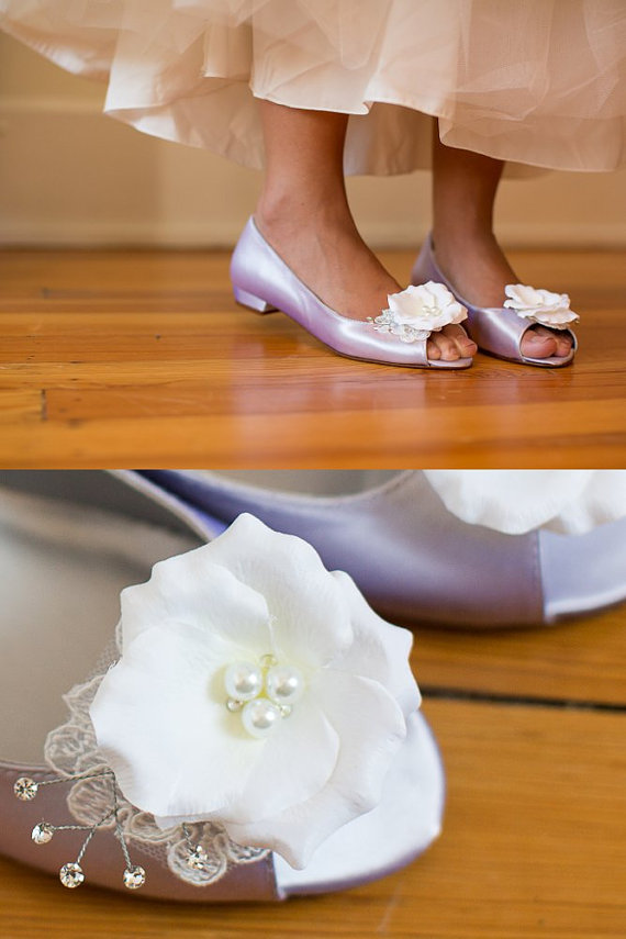 ac987987384a Wedding shoes peep toe ballet flats low heel bridal shoes embellished with  ivory French lace