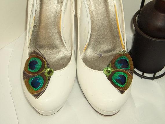 زفاف - Bridal Shoe Clips -  Peacock Shoe Clips, Feathered Shoe Clips, Wedding Shoe Clips