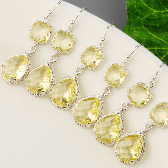 Свадьба - Bridal Jewelry Set -10% OFF Yellow Citrine Bridesmaid Earrings SET OF 5 - Bridesmaid Jewelry Set -  Wedding Jewelry - Silver Drop Earrings