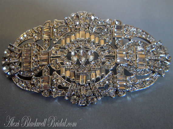 Mariage - Bridal Brooch Art Deco Rhinestone for Bridal Wedding Sash Belt Brooch, Wedding Jewelry, Accessories, jewelry, vintage style