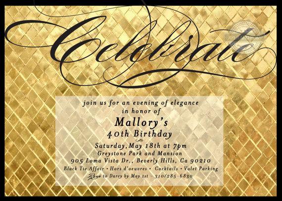 زفاف - Gold Birthday Bachelorette Engagement Invitation Digital Printable - ANY EVENT