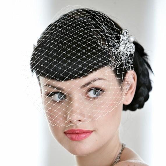 Свадьба - wedding veil, Edith Birdcage blusher Veil, wedding veil, bridal veil, deco, ivory veil. Gatsby Wedding hair accessory Bridal Ready to ship