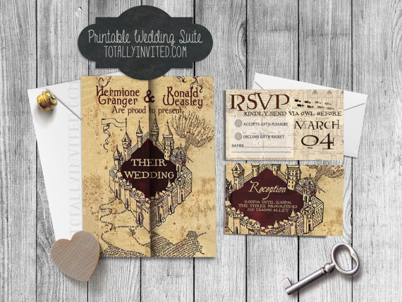 harry potter wedding invitation set marauders map printable diy geek wedding the perfect invite for hp fans custom digital file wizards - Harry Potter Wedding Invitations