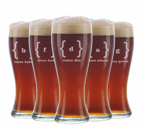 Wedding - 12 Personalized Beer Glasses, Groomsmen Gifts, Custom Wedding Favors, Father of the Bride Gift, Gifts for Groomsmen, Personalized Glasses