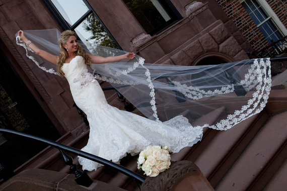 Mariage - Wedding Veil - Cathedral Drop Two-Tier Spanish Mantilla with French Alencon Lace and Swarovski Crystals