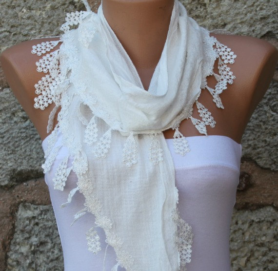 Mariage - Spring Celebrations Fashion White Scarf Cotton Cowl Scarf Bridal Accessories Bridesmaid Gift Gift Ideas  For Her Women's Fashion Accessories