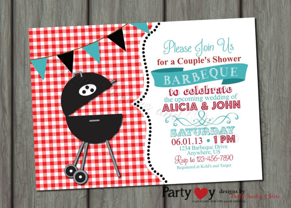 Mariage - Couple's BBQ Wedding Shower Invitation - Digital File