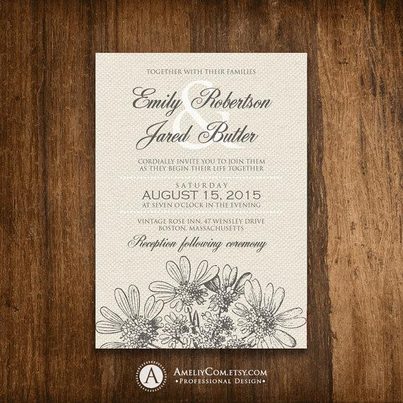 Hochzeit - Wedding Invitation Printable Rustic Сanvas & Gray Vintage hand-drawn Floral INSTANT DOWNLOAD Editable PDF - Spring / Summer Weddings Invite