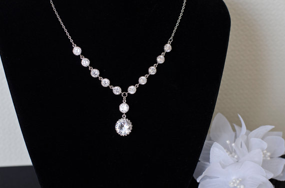 Wedding - Wedding Bridal Jewelry Bridal Necklace, Cubic Zirconia Bridal Necklace, CZ Round Connectors and Large CZ Round Drop