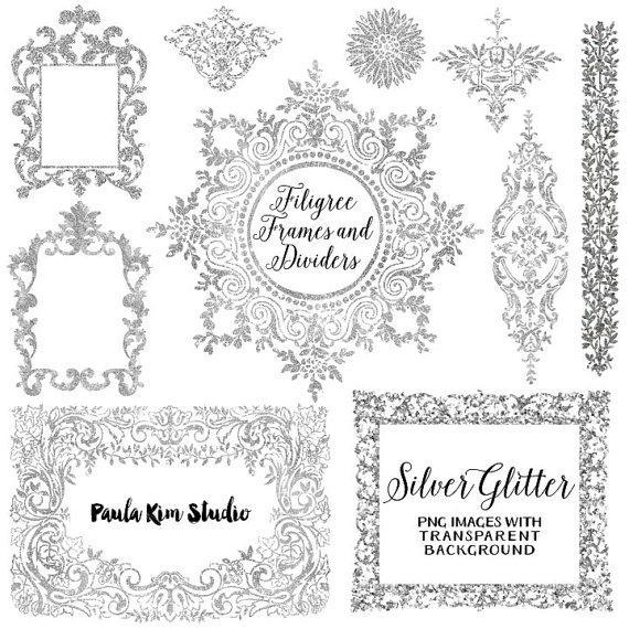 75% OFF SALE Silver Glitter Digital Frame, Flourish Clipart, Silver ...