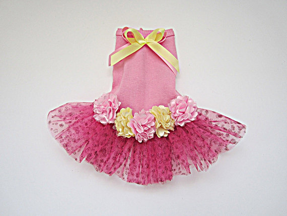 Свадьба - Dog dress tutu in pink and yellow with satin flowers. Summer dog dress doggie bling