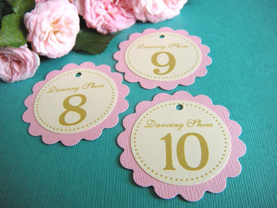 Mariage - 50 Custom Printed Flip Flops or Dancing Shoes Wedding Paper Favor Tags - No Ribbon - Any Color or Style