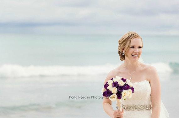 Hochzeit - Rhinestone Swarovski  Pearl Wedding Sash - S15