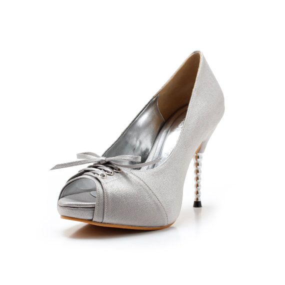Mariage - Cherish V2, Silver Wedding Shoes with Front Corset, Silver Bridal Shoes, Silver Wedding Heels with Steel Heel