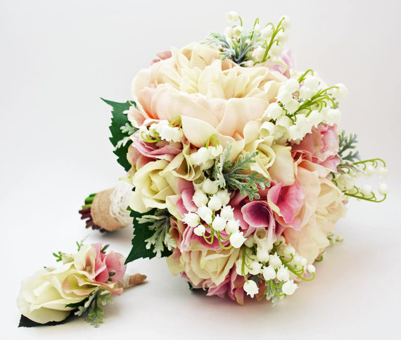 Mariage - Reserved - Bridal Bouquet Lily of the Valley Peonies Roses Hydrangea Pink and White- Customize for Your Colors