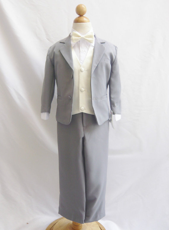 1e27b5dc37a4 Formal Boy Suit Gray with Ivory Vest for Toddler Baby Ring Bearer Easter  Communion Bow Tie Size 5, 6, and More