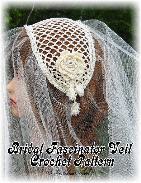 Свадьба - Bridal Fascinator Veil Crochet Pattern PDF - INSTANT DOWNLOAD.