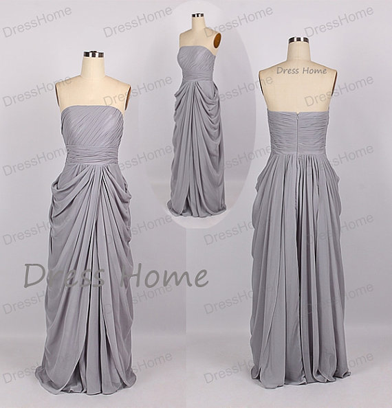 Свадьба - Grey Strapless Bridesmaid Dress - Cheap Long Grey Bridesmaid Dress / Cheap Bridesmaid Dress / Grey Prom Dress / Long Evening Dress DH164