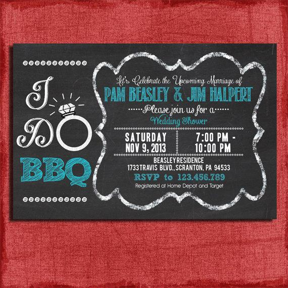 "Wedding - Printable ""I Do"" BBQ Barbecue Couples/Coed Wedding Shower Invitation-Choose your colors-DIY"