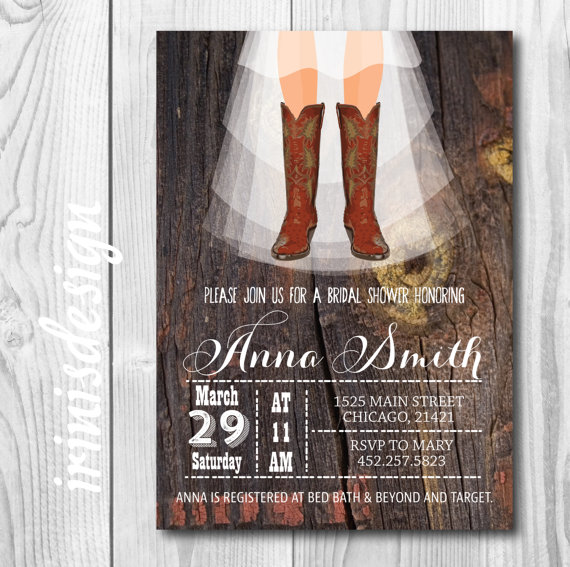 Mariage - Rustic Country Cowboy Boots Shabby Chic - Bridal Shower/Wedding barn farm and/or Baby Invitation/ Invite Printable Instant Download