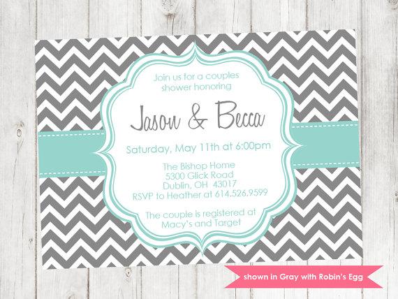 Свадьба - Couples Shower Invitation - Printable Shower Themed Chevron Invite - Colors and Text Customizable