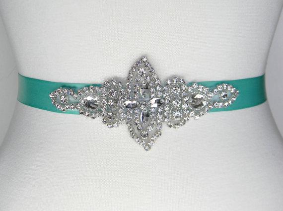 Свадьба - Aqua Bridal Sash - Wedding Belt - Bridal Belt - Bridesmaid Belt - Beaded Wedding Dress Belt - Aqua Satin Bridal Sash - LANA II
